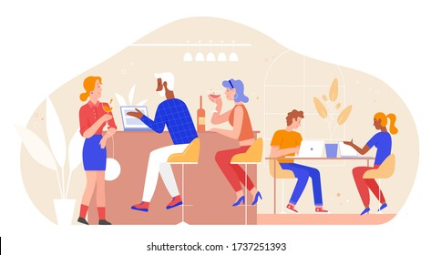 People in bar vector illustration. Cartoon flat adult man woman friend group characters meet in bar or restaurant interior for conversation, drink wine, work on laptop together in friendly meeting