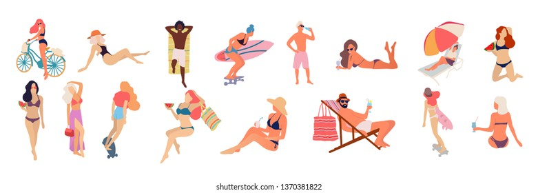 People at beach. Set of people relaxing at beach - Vector