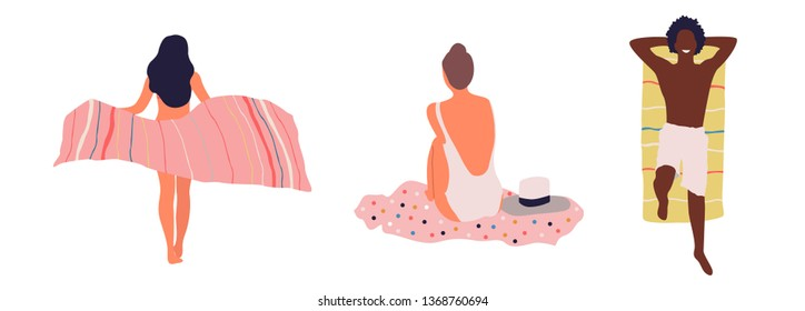 People at beach. Vector isolated travel set - Vector