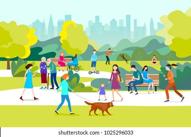 People  in a beautiful urban park, city skyline on the background.Vector illustration.