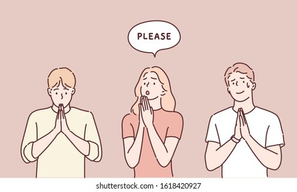 People begging and praying with hands together with hope expression on face very emotional and worried. Hand drawn style vector design illustrations.