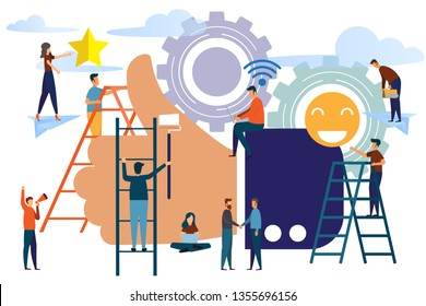People best performance. Reviews and comments that successful work is the highest score. Big hand shows the gesture a class. five points score. Big hand like for success concept vector illustration.