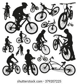 People and Bicycles Silhouettes