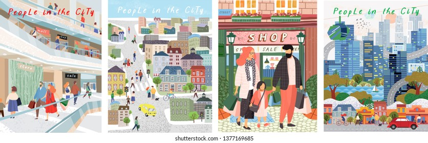 People in a big city. Vector cute illustrations of people and families in the store for shopping and on the streets of the city. Freehand drawings for poster, card and cover.