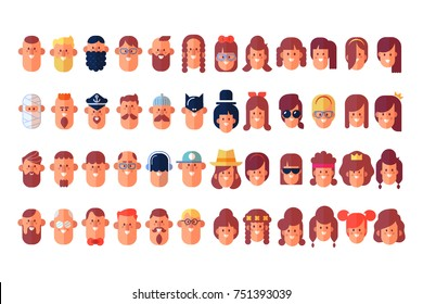 People. Big set of characters in flat style. Cartoon style, vector illustration.