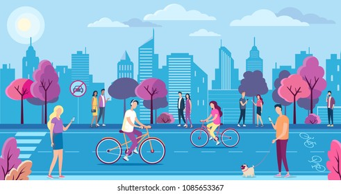 People with bikecycles in the ecologically pure city park, landscape. Cycle lane, mobile internet technology and no car sign