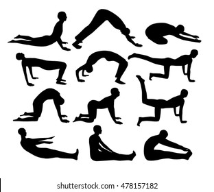 People black silhouettes yoga positions