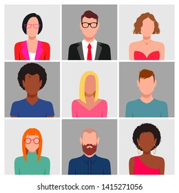 People with blank faces avatar set . Different skin color, hair and clothes