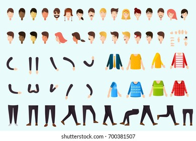 Constructor of people body.  Set of different body parts, emotions, hands, legs, clothes.
