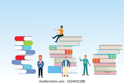 People with books. Different persons trying to be succesfull. Concept  vector illustration. Flat vector