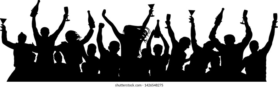 Сrowd of people booze holds alcohol in hands. Party holiday silhouette vector. People are holding champagne bottles and glasses