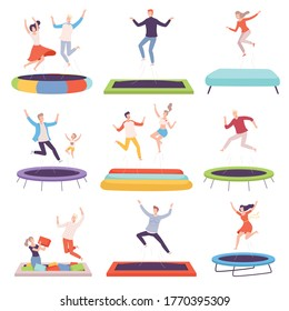 People Bouncing on Trampoline, Happy Men, Women and Kids Having Fun Together, Active Healthy Lifestyle Flat Style Vector Illustration