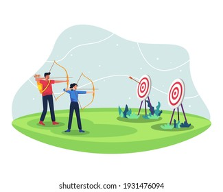 People with bow archery and target. Male and female archery athletes compete, Practice archery together. Archers in the archery match for sport competition. Vector illustration in a flat style