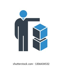 people and boxes icon
