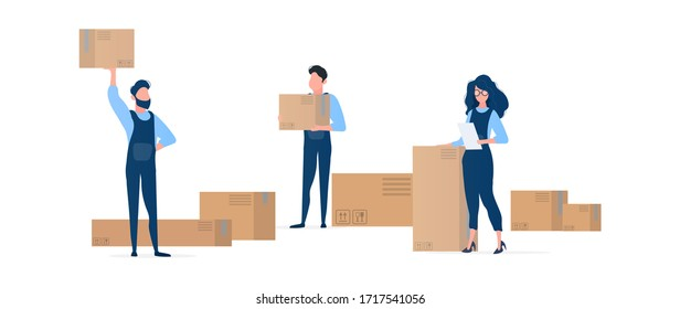 People with boxes. Movers are holding cardboard boxes. The girl with the list in her hands. Design element on the subject of delivery and moving. Isolated. Vector.