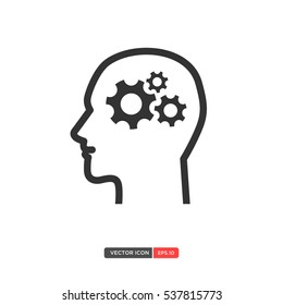 People with brain gear icon on white background. Vector illustration eps 10