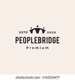 people bridge hipster vintage logo vector icon illustration