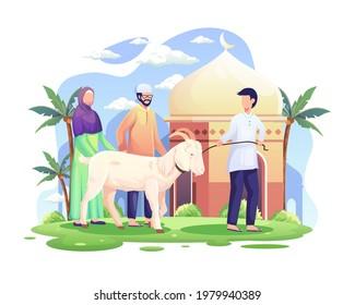 People bring a goat for qurban or sacrifice in Eid Al Adha Mubarak. Flat vector illustration