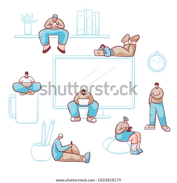 People browsing Internet, vector design with cellphones, laptops and tablet