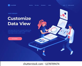 People build a dashboard and interact with graphs on the dark blue backgroung. Data analysis, and office situations. Landing page template. 3D Isometric vector illustration