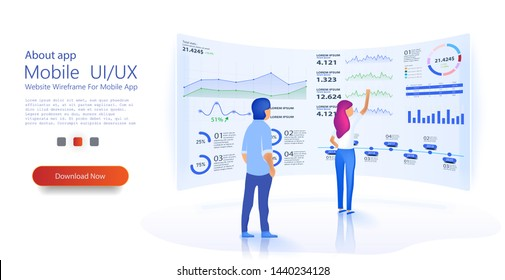 People build a dashboard and interact with graphs. Modern flat design isometric concept of Data Analysis for website and mobile website. Landing page template. Analytics admin dashboard. Vector