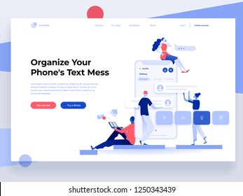 People build a mobile application and interact with parts of the interface. App development. Landing page template. Flat vector illustration