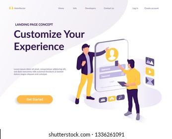 People build a web customer profile in a mobile application on the Light backgroung. Data analysis and Web design interface. Isometric vector illustration. Landing page concept.