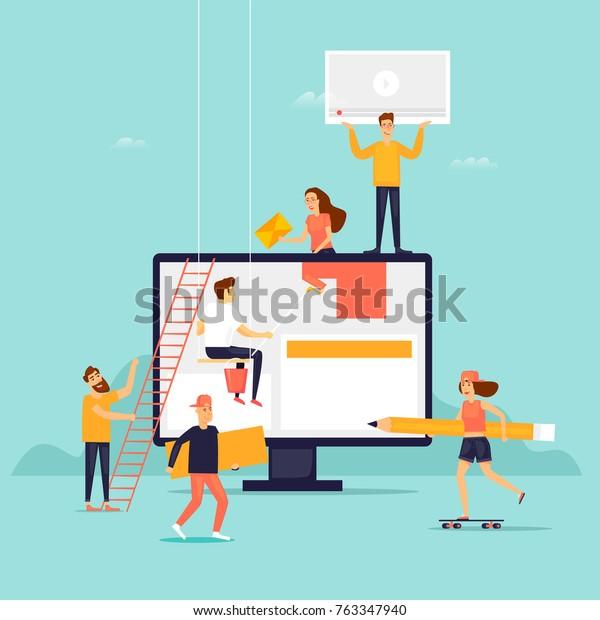 Sitio web de construcción de personas. Ilustración vectorial de diseño plano.