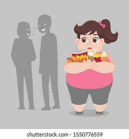 People bullying fat woman, plus size girl have some bullying and feel upset to her obesity. Healthcare concept cartoon Healthy character flat vector design.