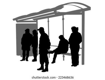 People at bus stop on white background