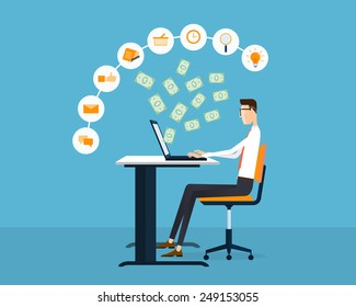 people business making earning on line idea concept background