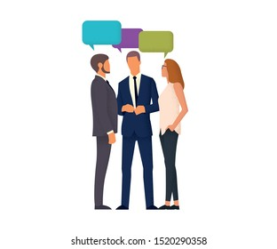 people in business suits communicate in a tight group. business partners are discussing. People enjoy communication. vector illustration