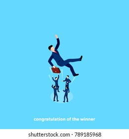 people in business suits throw up a colleague congratulating on success, isomtrict image