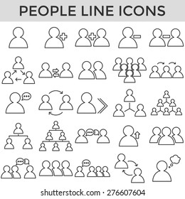 people business symbol line icons vector