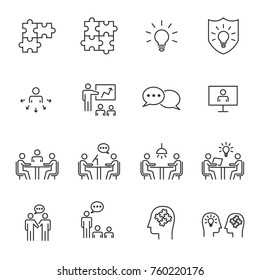 People Business Vector Line Icons , Business Meeting Communication,Work Group Team