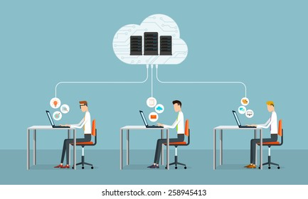 people business working on cloud network.data server