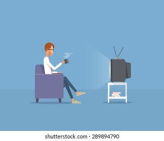 people businessman  watching television on sofa .flat vector cartoon