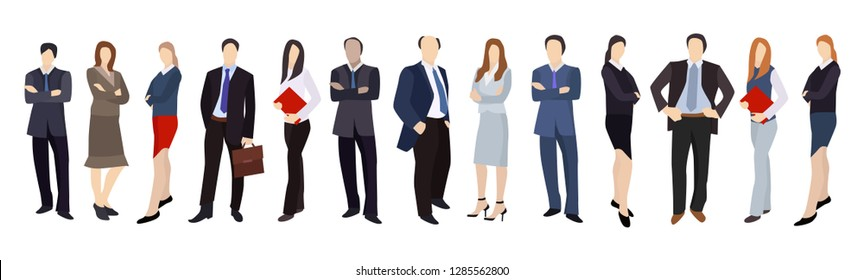 People businessmen, businessman and business woman, people in business suits during work, front view  isolated on a dark background. Vector illustration of flat cartoon style.
