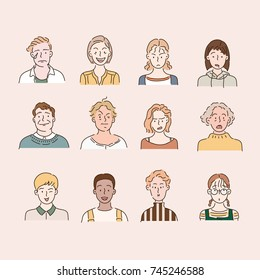 people bust character hand drawn illustrations. vector doodle design