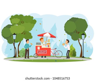 people buy and eat hot dogs in the city park. vector illustration
