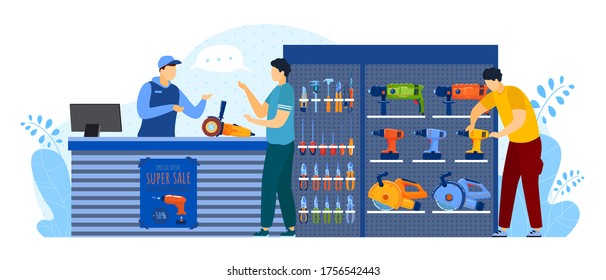 People buy in tool store vector illustration. Cartoon flat man buyer client characters buying equipment for toolbox of house repair, consulting salesman at counter. Hardware shop isolated on white