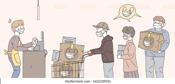 People are buying a lot of masks because of worry about the corona virus. Vector illustration about mask shortage phenomenon.