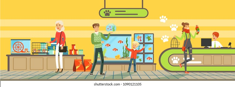 People buying pets, food products, accessories and medicaments from pet store Illustration in flat style