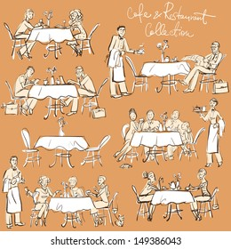People at cafe and restaurant - Hand drawn Collection. Clip Art.