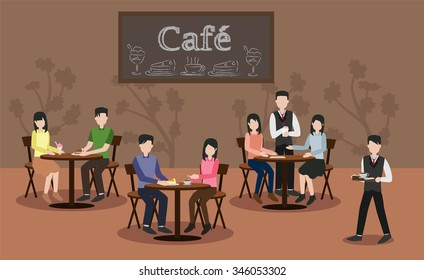people in cafe restaurant vector