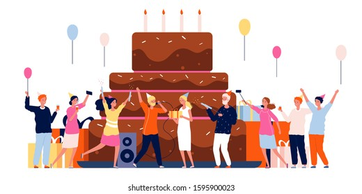 People with cake. Family celebration characters dancing and playing big cake vector party birthday background