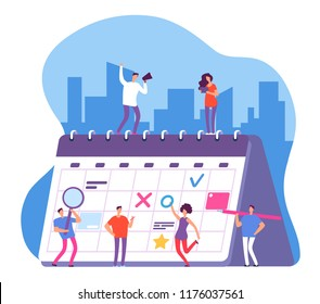 People and calendar. Entrepreneurship schedule plan, work planning. Persons with whiteboard organizer vector concept. Illustration of organizer and calendar work, date and time plan