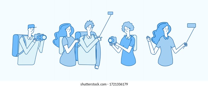 People with cameras. Tourists, travelers photographed. Girl guys making selfie. Video calls, line flat vacation characters vector set