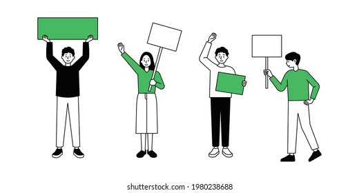 People are campaigning with pickets.  minimal vector illustration.