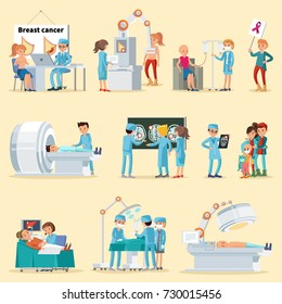 People and cancer disease collection with doctors patients medical examinations diagnostics tests in hospital isolated vector illustration